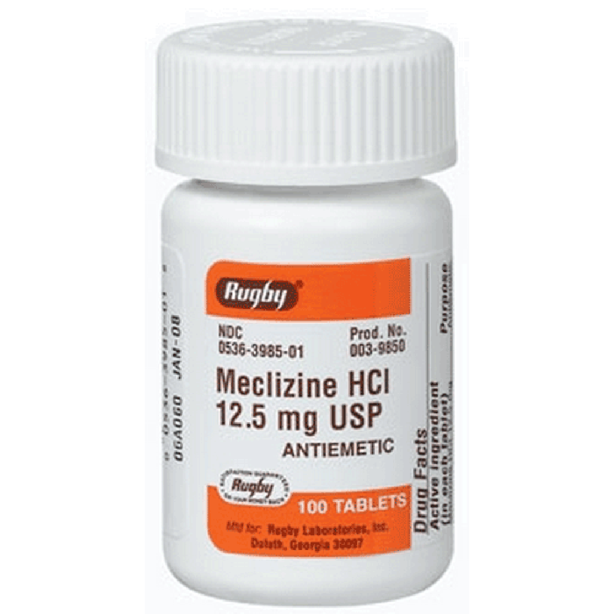Rugby Meclizine Hcl Anti Nausea Tablets