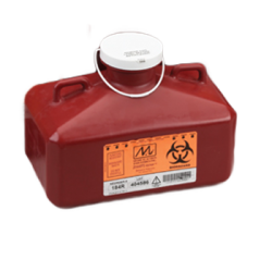 4.7 Quart Red Sharps Collector with Rectangular Locking Cap 184R