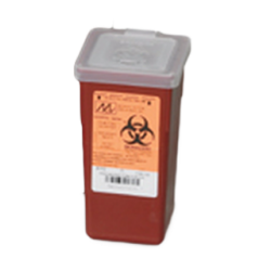1 Quart Transparent Red Stackable Sharps Collector with Biohazard Symbol 8702T