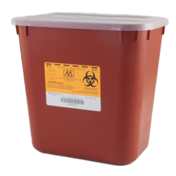 2 Gallon Red Stackable Sharps Collector with Biohazard Symbol 8704