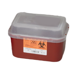 2 Gallon Transparent Red Stackable Sharps Collector with Biohazard Symbol 8704T