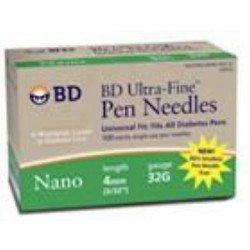 Ultra-Fine Nano Pen Needle 32G x 4 mm (100 count) - 320122