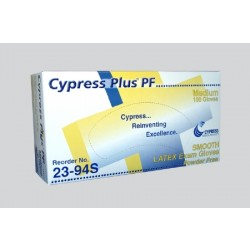 Cypress Plus Smooth Latex Exam Gloves - Powder Free Large - 23-92S
