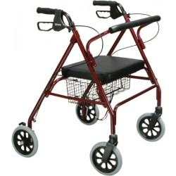 Go-Lite Bariatric Steel Rollator, Padded Seat, Red 22 Inch - 10215RD-1