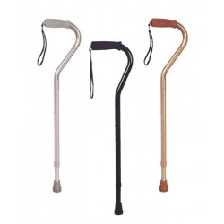 Walking Cane with Offset Handle with Foam Rubber Grip, Silver 30 To 39 Inch - 10303-6