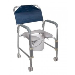 Aluminum Shower Chair and Commode with Casters - 11114KD-1
