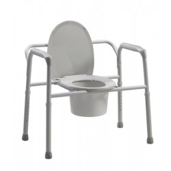 Bariatric Folding Commode, 650lb Capacity, Grey 17 to 23 Inch - 11117N-2