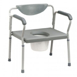 Deluxe Bariatric Commode, Assembled, Grey 15 to 22 Inch - 11130-2