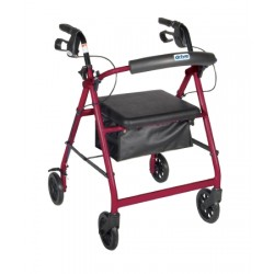 """Walker Rollator with 6"""" Wheels, Fold Up Removable Back Support, and Padded Seat by Drive Medical - R726BK"""