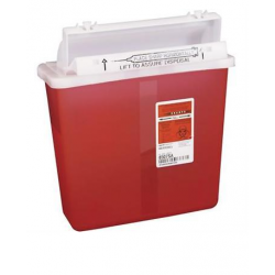 5 Quart SharpSafety Safety In Room Sharps Container with Counterbalance Lid - Red or Clear