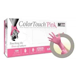 ColorTouch Pink Latex Exam Gloves Powder Free - NonSterile