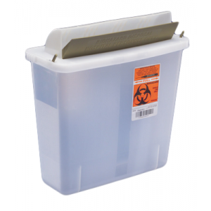 5 Quart Transparent Sharps Container Red SharpSafety Mailbox Style Lid 85131