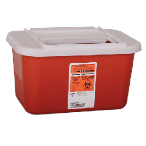 1 Gallon Red Nestable Sharps Collector with Horizontal Drop Opening Lid MDS705201H